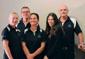 The new team at Gateway Rainbow Waters: Julie Eden, Errold and Glenda Misso, Julie and Mark Channer
