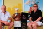 Rod, Eddie and Sharon enjoy a well-earned early morning cuppa