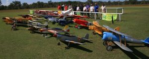 Pilots and planes lined up at the first Queensland Scale Model Muster at Tin Can Bay last year.