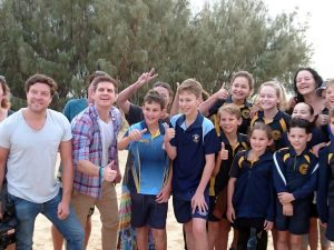 Sam Mac was swamped with locals keen to show how friendly Rainbow Beach is! Images by Barb Rees