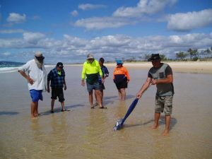 Tin Can Bay Fishing Club members being shown how to catch beach worms with local identity, Slippery Mick