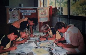 Working on what was to become Rainbow Beach Community News: David Arthur, Smiley Mick, Bradley Pike, Jake Parton and Mrs Robbo in 1989