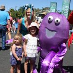 Sadie and Marley Mercieca were happy to have a photo with some of the mascots - Prawn Yvonne Jensen and Octopus