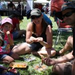 What it's all about: Luke, Ruby, Sharon and Johnny Arthur stop to savour the seafood