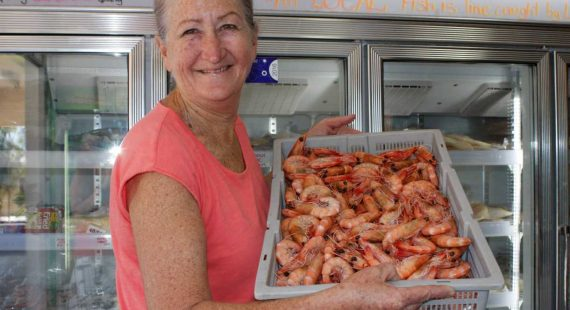 Sandy Brosnan from Ocean Breeze Seafoods offers local fresh prawns ready for your celebrations