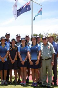 Rainbow Beach RSL Sub Branch members Bob Bliss, Trevor Ansell, John Molkentien, Pat Nayler OAM, Len Vickery, with (front) Rainbow Beach State School students Archie Gilmore, Charlie Kingsley, Ruby Falconer, Annie White and President Joe Casey after the 2016 Remembrance Day service