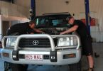 Allan Roberts and Dave Elder busy in the workshop of Rainbow Beach Automotive Image Barb Rees