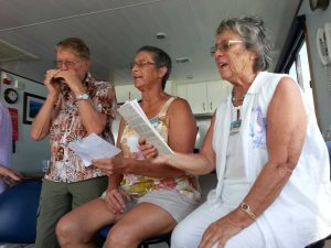 Music Plus regulars and Cooloola Cove waterwatchers and entertainment - Len, Nancy and Pam were onboard the Coastcare end-of-year cruise
