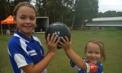 Geurt sisters Anjelica and Amanda have a ball at Little Athletics