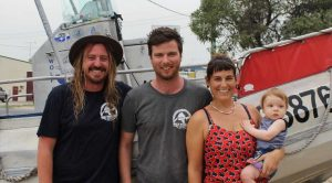 Happy New Year from the new management at Wolf Rock Dive Centre: Alex Heathcote, James Nelson, Fiona Butler and nine-month-old Finnigan