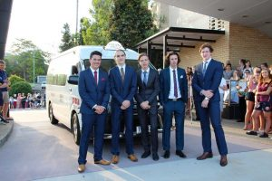 A couple of local lads arriving in style by maxi taxi Gympie Golden City Cabs, at the St Patrick's College Formal: Kale Fullarton, Felix Laird, Sam Rowan from Gympie, Harrison Young and Tristan Watson from Wolvi.