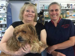 Jenny Eising with Buddy and Vet Cathy Milgate who urges dog owners to socialise their dogs from an early age