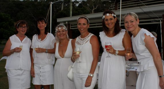 White for a night: Therese Young, Cate White, Tuppy Modin, Fiona Worthington, Beck Emery and Tanya Beech