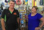 Bruce and Terri Geissmann from Rainbow Beach Hardware, Fishing and Camping are concerned about the approval for a roadside stall on the corner of Tin Can Bay and Rainbow Beach roads