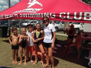 Ari Skennerton, Jahli Parton, Seth Parton, Angelica Geurts with coach Bj Parton at the Kilkivan  swim meet