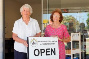 Carmel Darcey and Val Davison welcome new members to help the Community Centre run