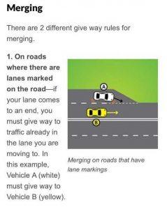Police - Merging Vehicle Rule