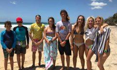 Charlie Kingsley, Zac, Zack McCarthy, Hannah Wilson, Nicholas White, Ella Steele, Chloe-lee Kelly, Cyndari Parton were part of the squad representing Gympie Region at the Wide Bay School Surfing Competition
