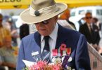 Ray Parker lays a wreath at the Rainbow Beach Cenotaph last year