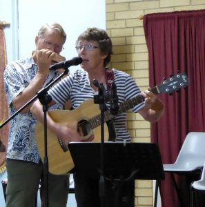 Kay Muir and Len Druce with a song about Three Hopeful Fishermen and the One That Got Away