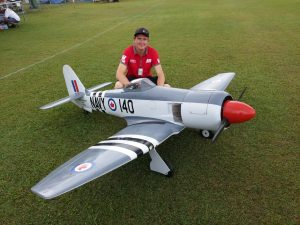 Aaron Garle with his Seafury at last years Warbirds