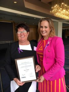 Rainbow Beach's Kerry Fullarton was congratulated by Energy Skills Queensland CEO Penelope Twemlow