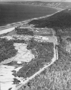Rainbow Beach 1970: wet plant is in foreground, dry plant in centre and sand mining houses on Rainbow Beach Road in background