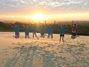 Singapore delegates do the mandatory sunset star jumps
