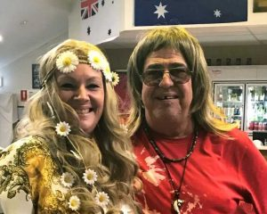 Sue Hoyle won Best Dressed Hippie for the night with Tezza Terry Giles from the winning trivia team - come along to the next RSL trivia night June 17