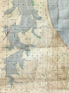 Old 1958 Military Map Wide Bay, the present Rainbow Beach Road is in the same position as the track along the old telephone line from Searys Creek.