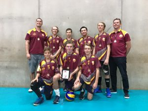 The boys' team and coaches after the winning volleyball match in Toowoomba