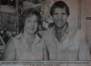 Then (1989): Maureen and Sam Mitchell are proudly 30 years in the one business - Rainbow Beach Tourist and Information Centre, now relocated a few shops down, next to Sea Salt at Rainbow Image courtesy Gympie Times