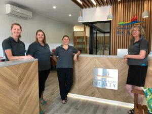 Cooloola Coast Realty team, Dee White, Katie Winzar, Kim McIlroy and Christine Druitt are enjoying their brand new office in the middle of town