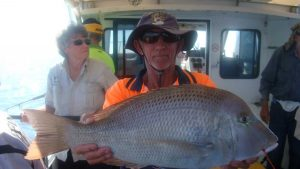 Derek Andrews who caught this large sweetlip on a Club fishing charter on Baitrunner recently
