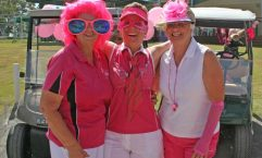 Val Clifford, Julie Mulhall and Lin Groombridge look forward to the Pink Ball Day
