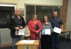 Toastmasters Paul Deller, Marie Parker, Linda Fewtrell and Patrick McFarlane practice their skills