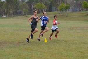 Lachlan Jensen, Angelica Geurts and Malakai Kissier in training for sprints