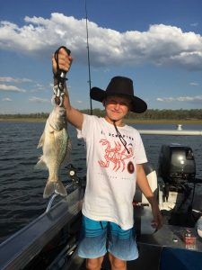 11-year-old, Thomas May, who caught this nice bass whilst on a club outing at Boondooma Dam recently