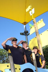 """Coastguard volunteers Anita Uden, Chris Mertin, Chris Morris prove that women can do anything - taken at the new playground during the """"Who's New at the Zoo?"""" event"""