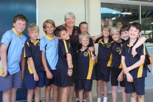 Rainbow Beach State School students will miss Chappy Ronnie (yes girls, I spotted you in the window!)