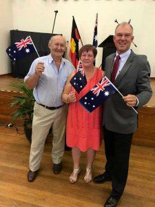 Tony Stewart, 2018 Citizen of the Year with 2017 recipient Marlene Owen and MP Tony Perrett Image courtesy Tony Perrett
