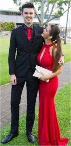 Sarah is pictured with Beau Nicholls