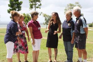 Volunteers Eileen Hollyoak, Gabriella Field, Lynette Cunningham from the TCB Resource Centre and Deb and Jim George welcome Carley O'Donnell from the Gympie Region Volunteer Centre (centre) and plan to attend the first meeting at Tin Can Bay on March 14