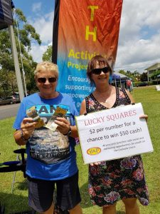 Grinning YAP winner Pam Smith with YAP volunteer Linda Meehan