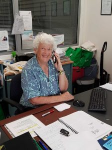 Carmel Darcey, one of the enthusiastic volunteers at the Rainbow Beach Community Centre, invites you to join them in providing services to the community