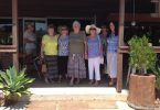 Over 60s members Dorothy Pascoe, Therese Skuthorpe, Margret Cudahy, Sabine Deimel and Sandra Sykes braved the 36-degree heat lunching at the Black Ants Café, Kin Kin - the weather should be more forgiving for their March trip to Kenilworth