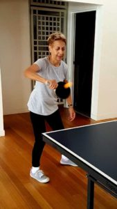 Jan Kemp returns serve at the Community Centre Table Tennis morning