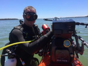 Marine biologist and underwater cameraman, Josh Jensen with his rig - come to a free screening of his film this month