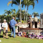 Susan Spenser and Joan Barnier from Tin Can Bay QCWA lay their wreath