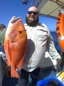 Ben Young, stoked with catching his first nice Red Emperor